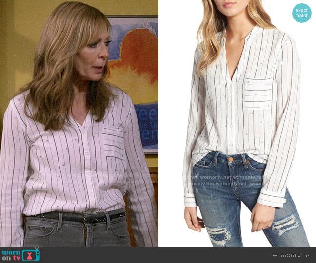 BP Dot Stripe Button Front Shirt worn by Bonnie Plunkett (Allison Janney) on Mom