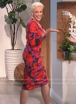 Brigitte Nielsen's floral print dress on The Talk