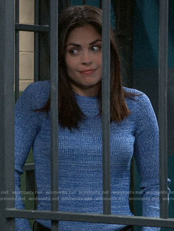 Britt's blue textured sweater on General Hospital