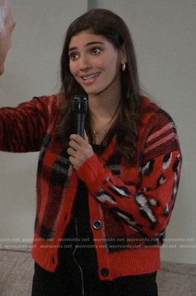 Brook Lynn's red plaid and leopard print cardigan on General Hospital
