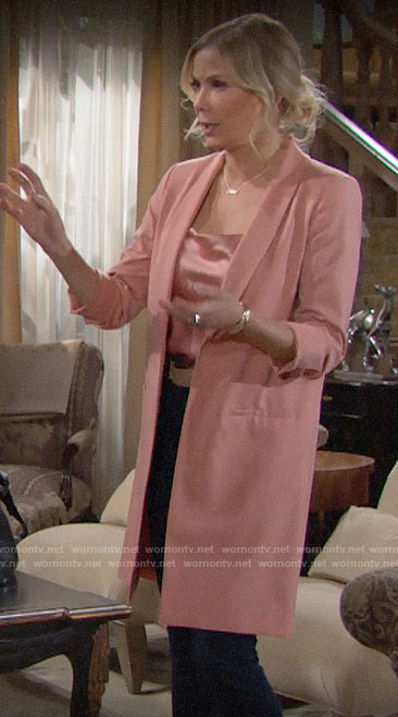 Brooke's long pink jacket and draped top on The Bold and the Beautiful