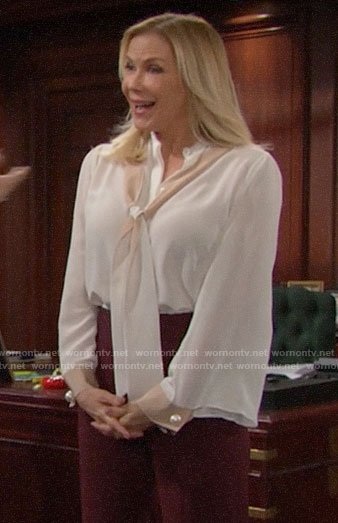 Brooke's white tie neck blouse with pearl button cuffs on The Bold and the Beautiful