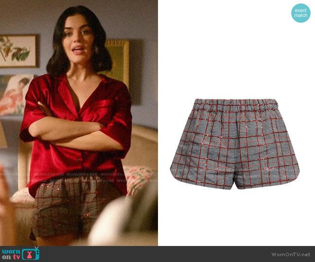 Brunello Cucinelli Sequin-embellished checked linen shorts worn by Katy Keene (Lucy Hale) on Katy Keene