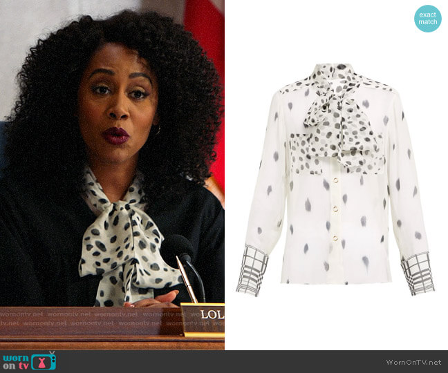 Burberry Pussy-bow dalmatian-print silk blouse worn by Lola Carmichael (Simone Missick) on All Rise