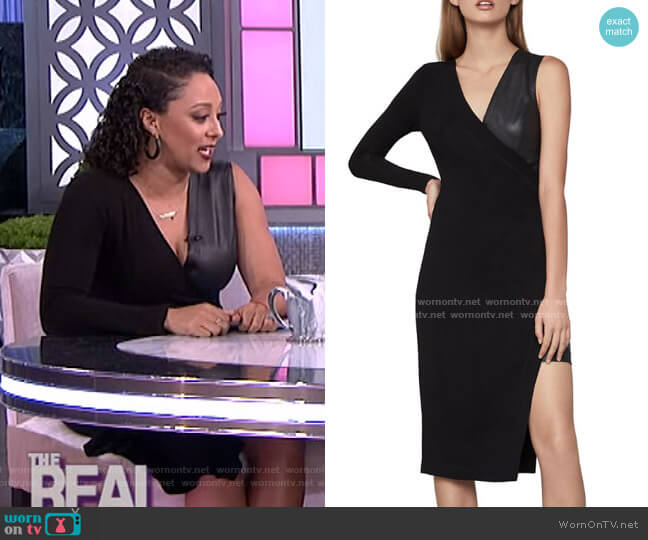 Single-Sleeve Asymmetric Dress by Bcbgmaxazria worn by Tamera Mowry  on The Real