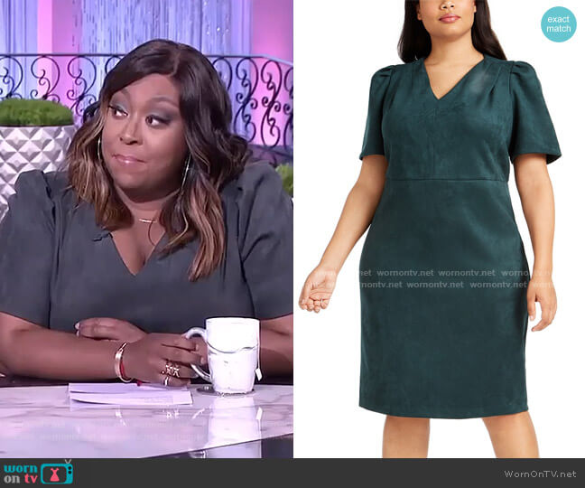 Puff-Sleeve Faux-Suede Dress by Calvin Klein worn by Loni Love  on The Real