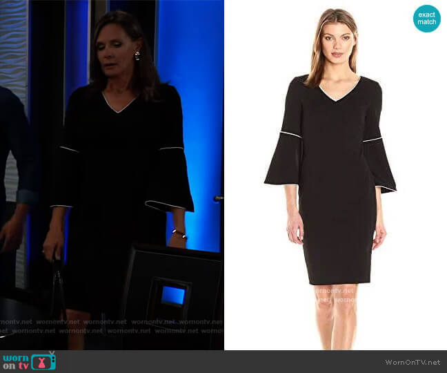 Calvin Klein Bell Sleeve Dress with Piping worn by Lucy Coe (Lynn Herring) on General Hospital