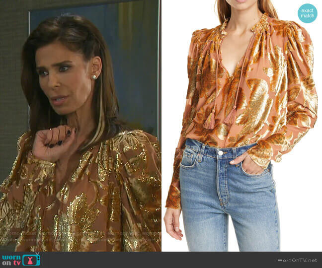 Camilla Velvet Devore Blouse by Ulla Johnson worn by Hope Williams (Kristian Alfonso) on Days of our Lives