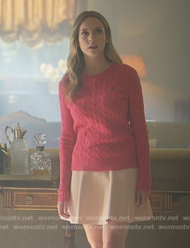 Carla's pink cable knit sweater on Elite