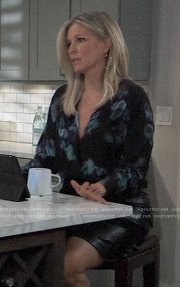 Carly's black and teal floral blouse on General Hospital