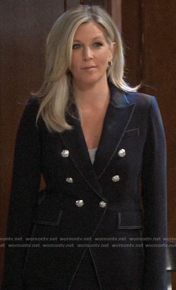Carly's navy blazer with silver buttons on General Hospital