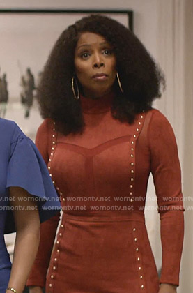 Carol Hardway's red studded suede dress on Empire