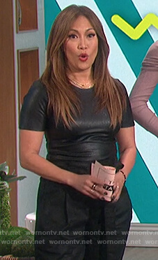 Carrie's black leather bodysuit on The Talk