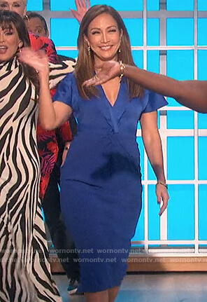 Carrie's blue twist front dress on The Talk