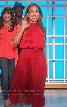 Carrie's red halterneck midi dress on The Talk