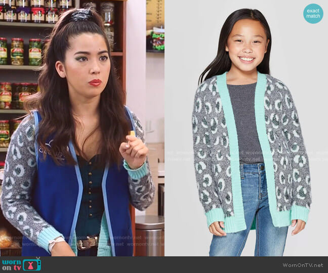 Girls' Long Sleeve Animal Print Open Layering Sweater by Cat & Jack at Target worn by Cheyenne (Nichole Bloom) on Superstore