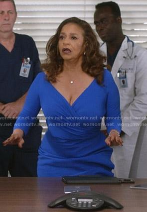 Catherine's blue wrap dress on Greys Anatomy