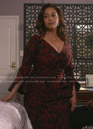 Catherine's red leopard print wrap dress on Greys Anatomy