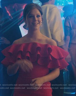 Cayetana's red ruffle mini dress on Elite