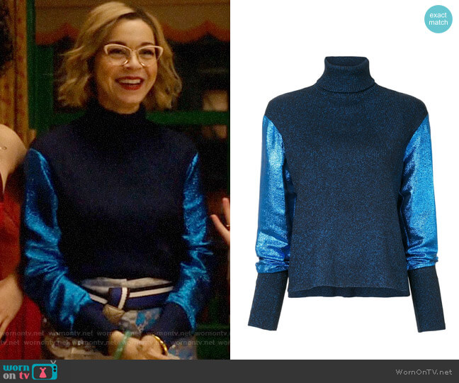 Cedric Charlie Metallic Knit Turtleneck Jumper worn by Pepper Smith (Julia Chan) on Katy Keene