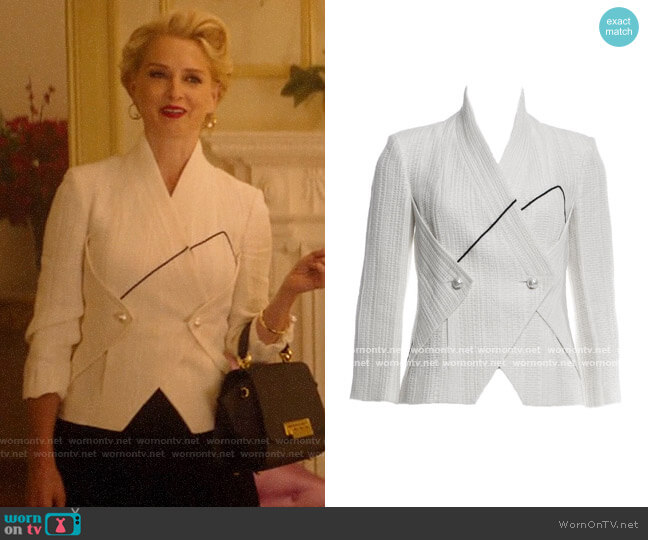 WornOnTV: Gloria's white jacket with pearl buttons on Katy Keene ...