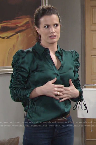Chelsea's green satin puff-sleeve shirt on The Young and the Restless
