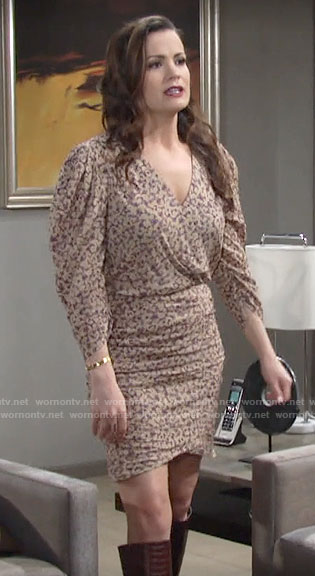 Chelsea's printed puff sleeve dress on The Young and the Restless