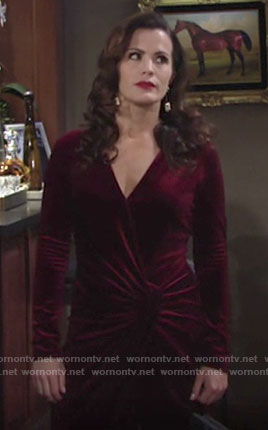 Chelsea's red velvet dress on The Young and the Restless