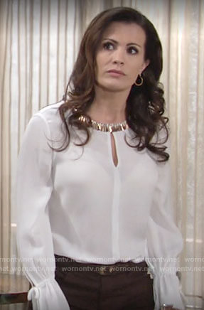 Chelsea's white embellished keyhole blouse on The Young and the Restless