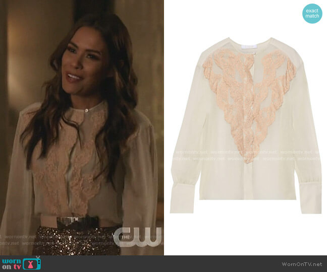 Lace-Trimmed Crepe Blouse by Chloe
