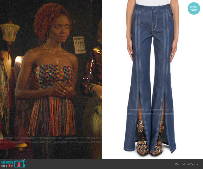 Chloe High-Waist Slit Flare-Leg Jeans worn by Josie McCoy (Ashleigh Murray) on Katy Keene