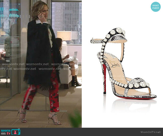 Galeria Ornament Genuine Snakeskin Sandal by Christian Louboutin worn by Jacqueline (Melora Hardin) on The Bold Type