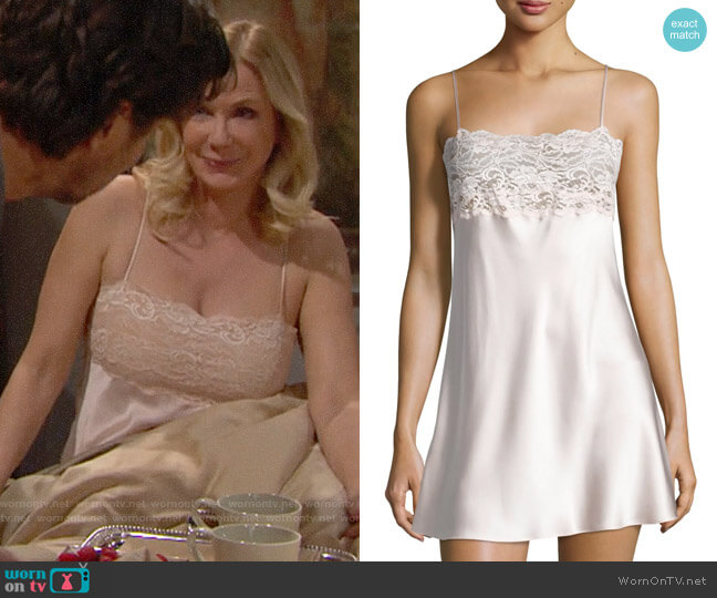 Christine Lingerie Bijoux Lace-Band Silk Chemise worn by Brooke Logan (Katherine Kelly Lang) on The Bold & the Beautiful