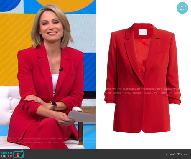Khloe Crepe Ruched Blazer by Cinq a Sept worn by Amy Robach  on Good Morning America