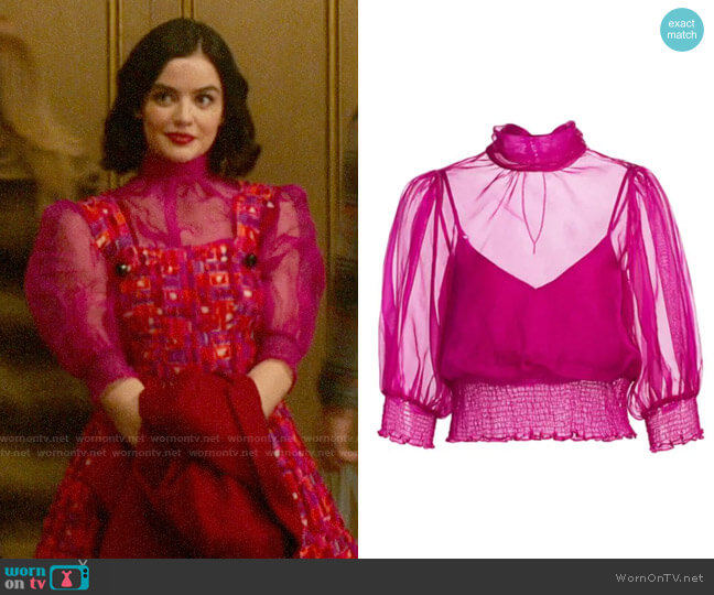 Cinq a Sept Cleo Organza Top worn by Katy Keene (Lucy Hale) on Katy Keene