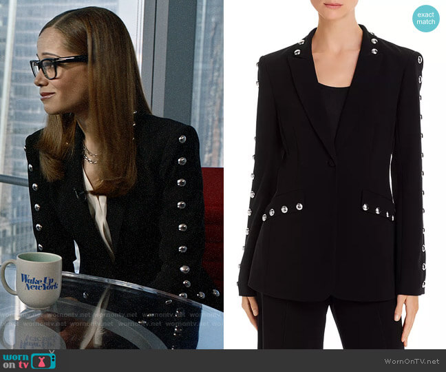 Cinq a Sept Dive Studded Single-Button Blazer worn by Amanda Doherty (Victoria Cartagena) on Almost Family