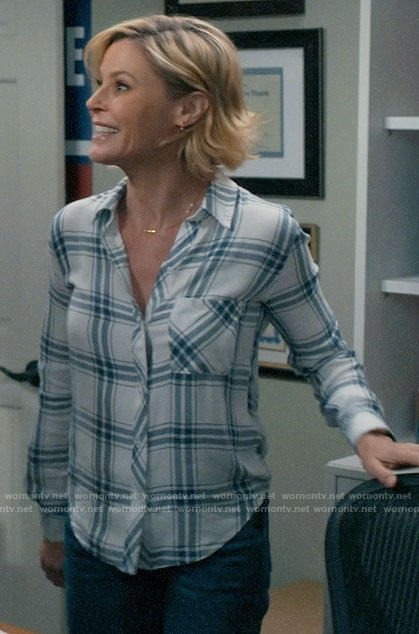 Claire's white plaid button down shirt on Modern Family