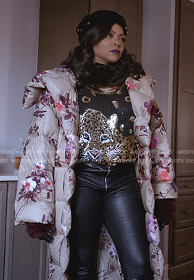 Cookie's beige floral puffer coat on Empire
