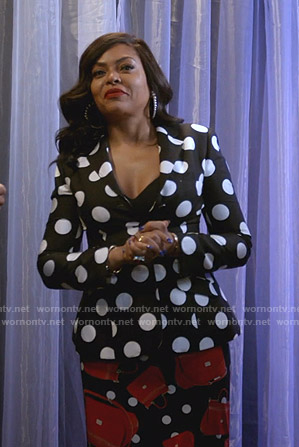 Cookie's polka dot blazer and handbag print skirt on Empire