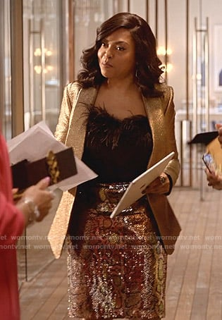 Cookie's metallic blazer and sequin snake skirt on Empire