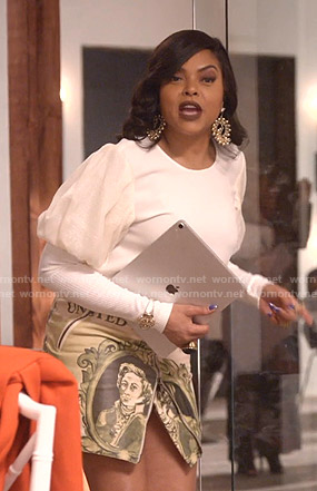 Cookie's white puff sleeve top and money print skirt on Empire