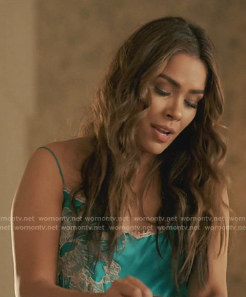 Cristal's green floral embroidered chemise on Dynasty
