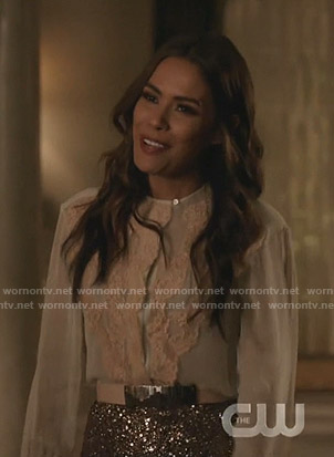 Cristal's white and pink lace-trim blouse on Dynasty