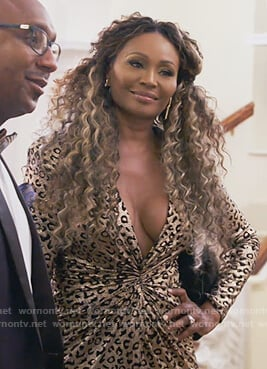 Cynthia's gathered leopard metallic dress on The Real Housewives of Atlanta
