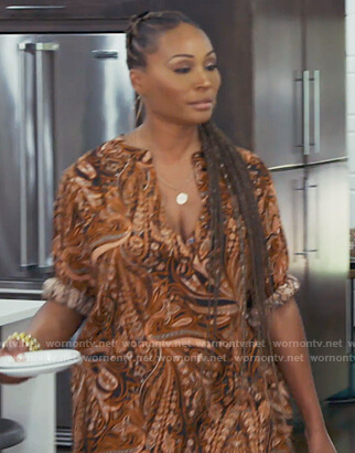 Cynthia's brown paisley print shirtdress on The Real Housewives of Atlanta