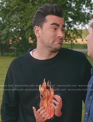 David's black fire hands print sweatshirt on Schitts Creek