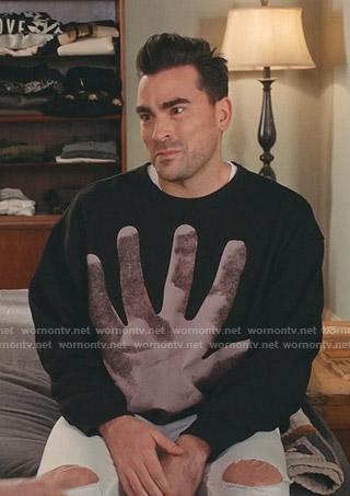 David's black hand print sweatshirt on Schitts Creek