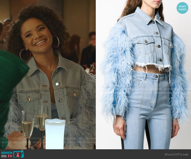 Feather-Trimmed Cropped Denim Jacket by David Koma worn by Vanessa (Jade Payton) on Dynasty