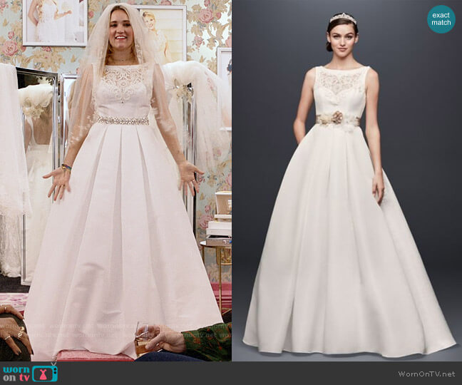 Davids Bridal Open Back Wedding Dress with Beading and Pockets worn by Roxy Doyle (Emily Osment) on Almost Family