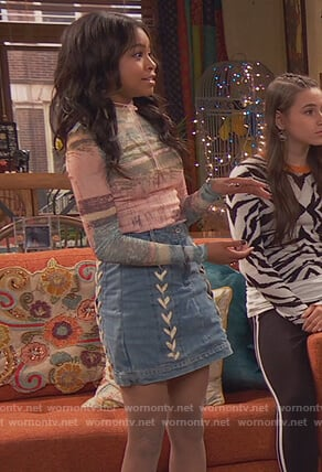 Tess's lace-up denim skirt on Ravens Home
